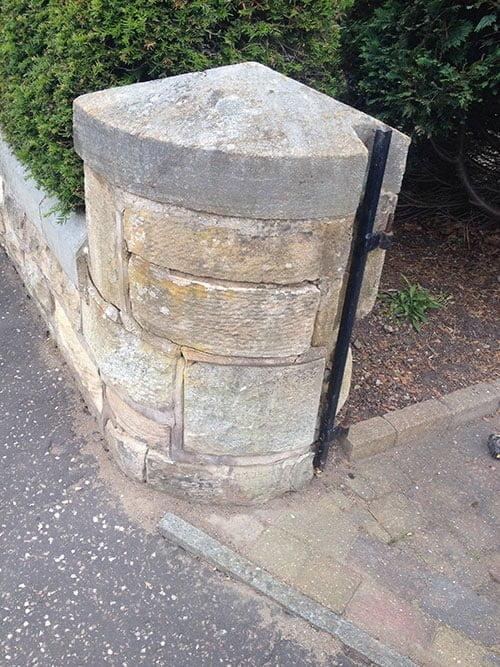 Entrance Wall Gate Pillar Before Stone Renovation